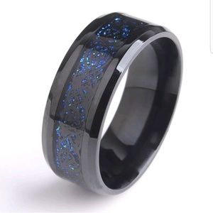 Other - Men's wedding band gun metal & scroll with blue